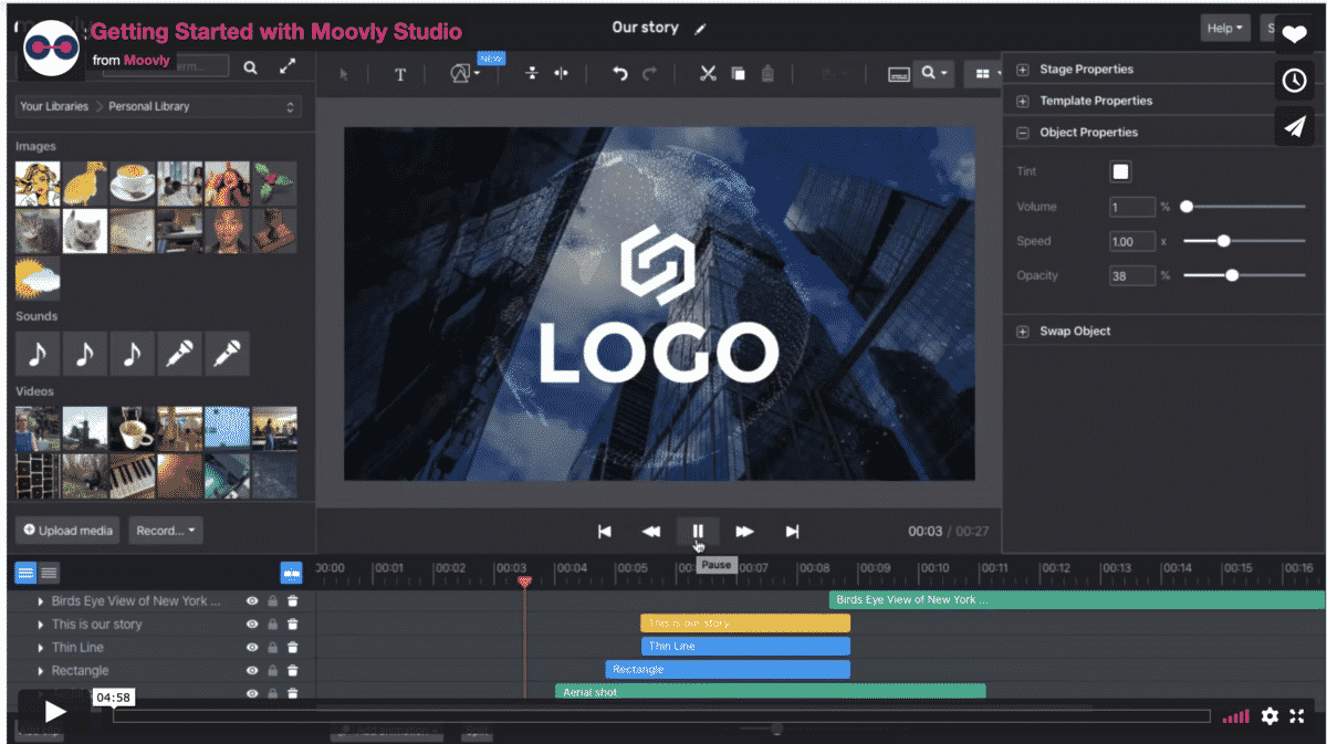 Moovly for creating animated videos and screencasts