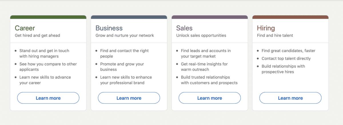 LinkedIn premiun offerings: Career, Business, Sales and Hiring