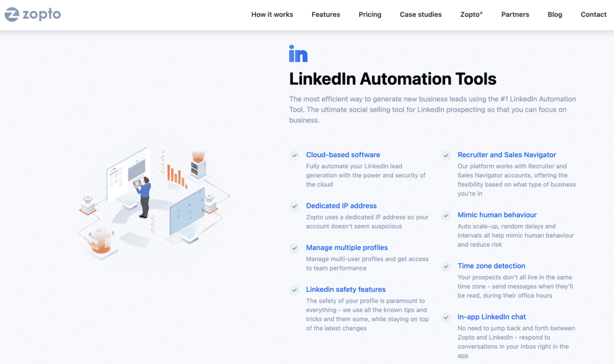 Zopto linkedin automation tools features