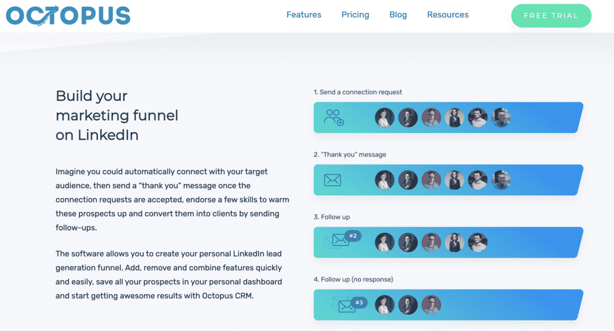 octopus crm linkedin automation tool | build your marketing funnel on linkedin