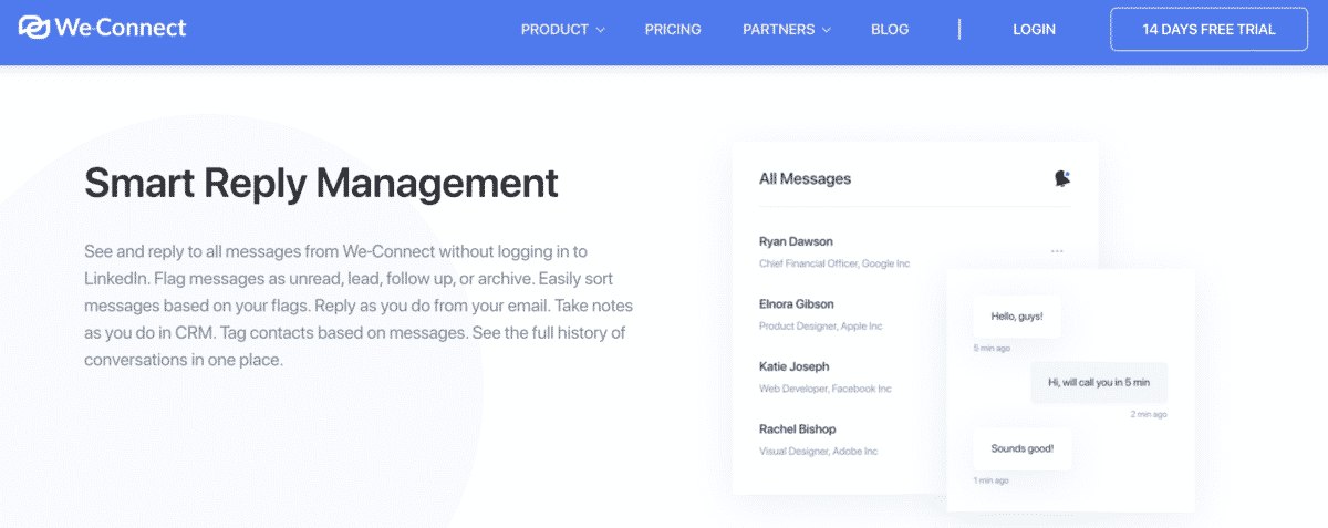 We-Connect smart reply management feature